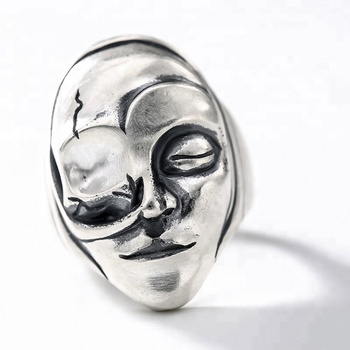 Solid 925 Silver One Eye Face Ring For Men High Quality Vintage Punk Biker Rings Silver Man Gothic Jewelry For Male