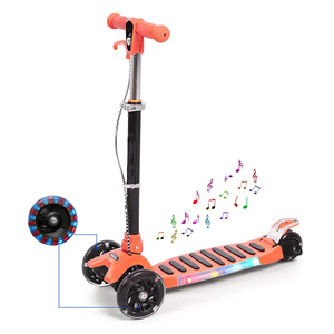 Foldable Adjustable Height Music LED Mini Kick Scooter for Kids