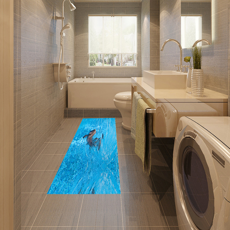 DB001 Waterproof Adhesive Dolphin Bathroom 3D Floor Sticker