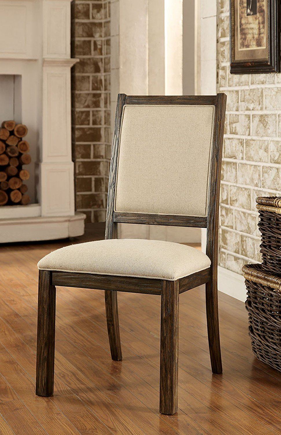 Simple Relax 1PerfectChoice Colettte Set of 2 Dining Side Chair Rustic Wood Frame Comfort Padded Fabric Seat