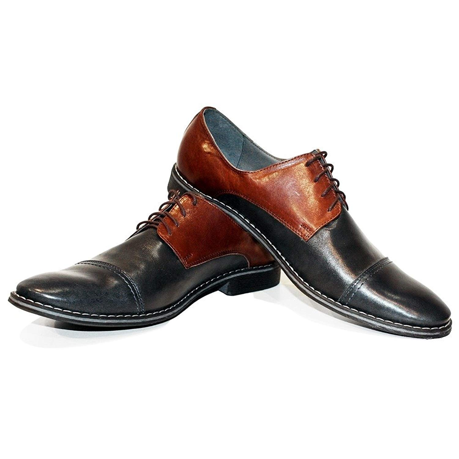 Modello Galanto - Handmade Italian Mens Brown Oxfords Dress Shoes - Cowhide Smooth Leather - Lace-up