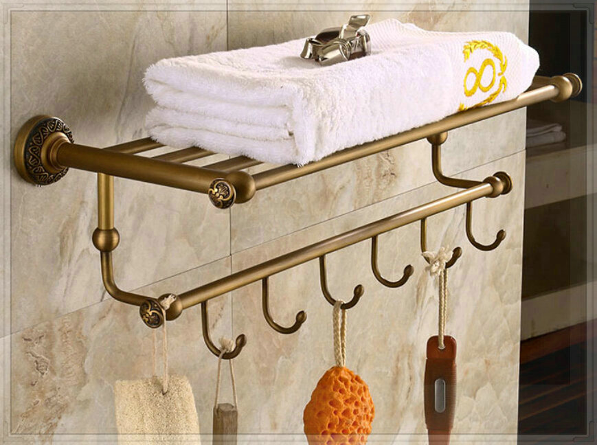 Three Holes Antique Brass Art Carved Bath Towel Holder