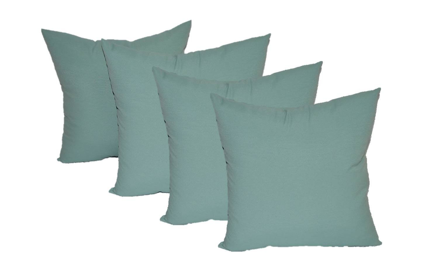 "Set of 4 - Indoor / Outdoor 17"" Square Decorative Throw / Toss Pillows - Solid Aqua / Spa"