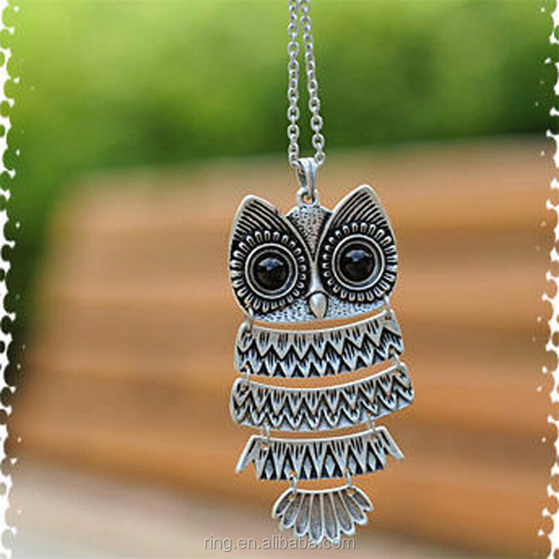 Retro Jewelry Vintage Ancient Bronze/Silver Big Eyes Owl Necklace Long Sweater Chain For Women Gift Party