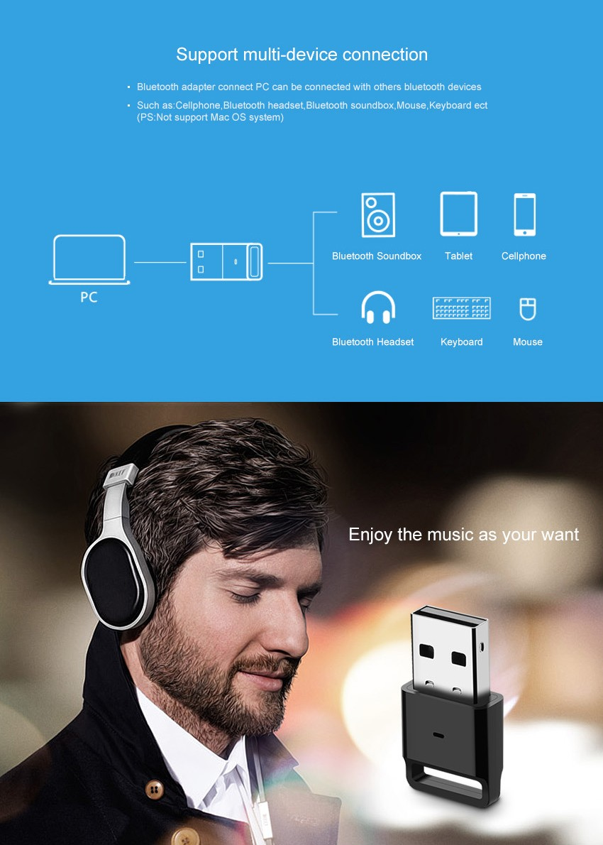 USB Bluetooth V4.0 Wireless Bluetooth Dongle for Wireless