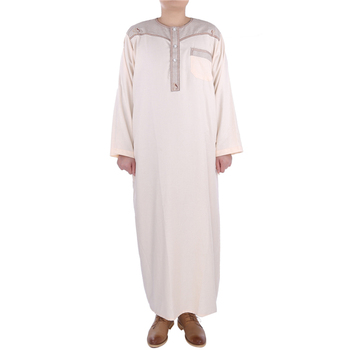 2017 hot design Men's Muslim thobe for moroccan kaftan
