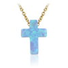 Wholesale Price 925 Sterling Silver Cross Pendant Jewelry Mexican OP06 Blue Fire Opal Necklace for Men