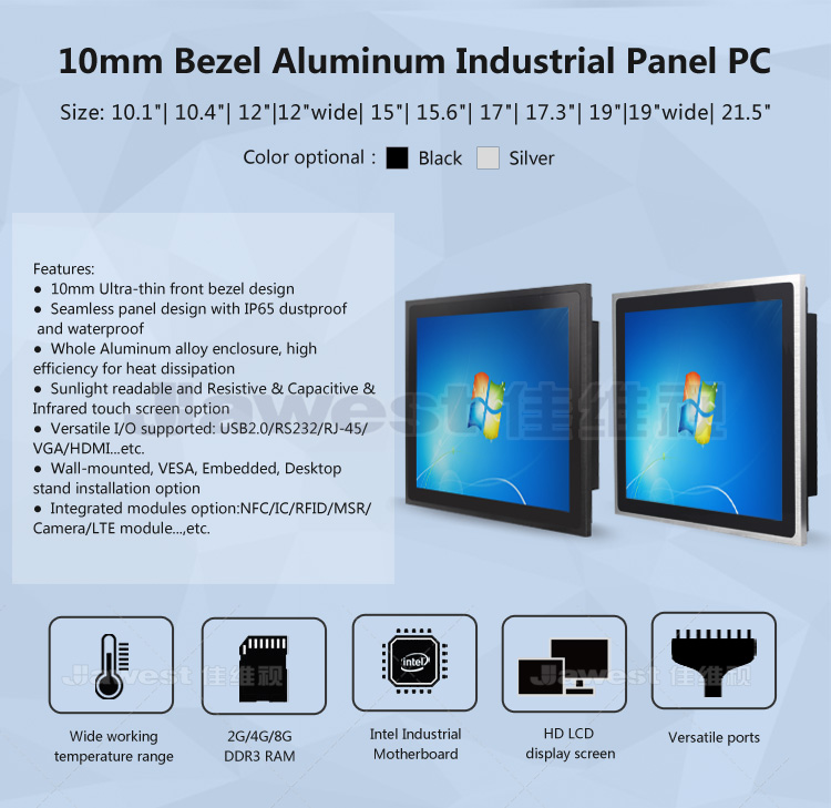 Multi touch screen computer waterproof front bezel aluminum alloy industrial touch panel