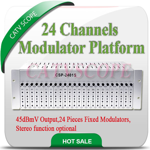 24 Fixed Channel RF Adjacent CATV Modulator with Combiner and Aluminum Chassis