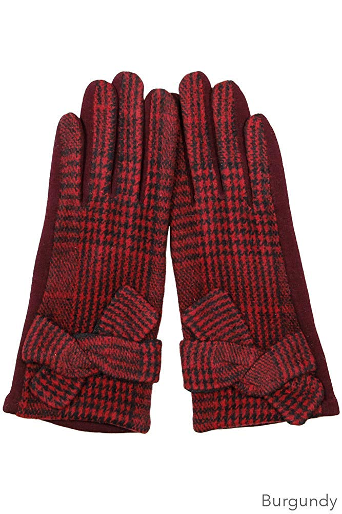 ScarvesMe Plaid and Checker Smart Touch Gloves with Knot