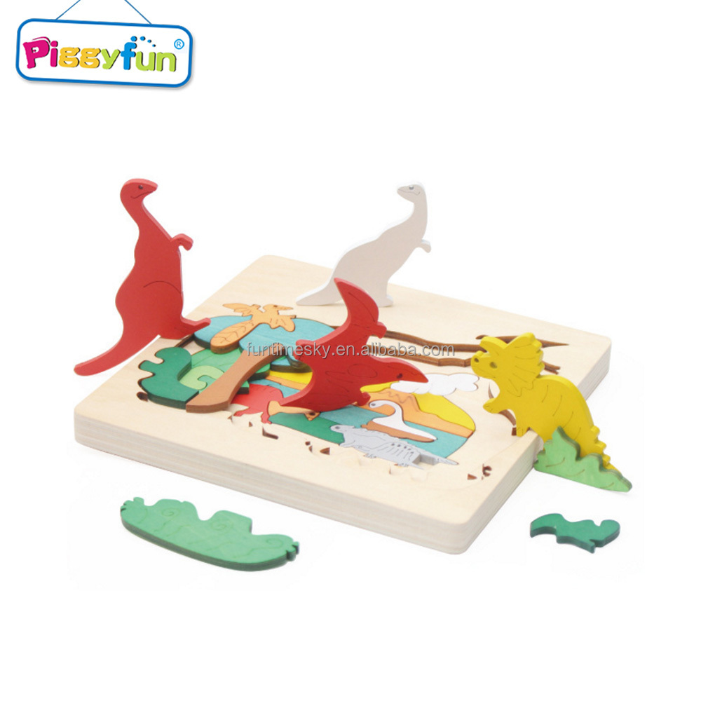 Educational DIY wooden toy animals dinosaur puzzle set for children