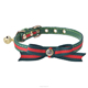European Popular Genuine Leather Christmas Cat Dog Collar with Gold Bell
