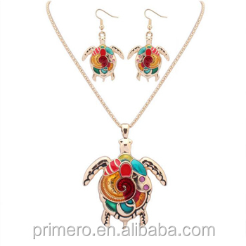 Colorful Enamel tortoise Jewelry Sets For Girls Animal tortoise Necklace Earring Set Unique Ethnic Jewelry