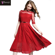 Lace Chiffon Dress with Belt Europe and Women Fashion Patchwork Expansion Big Hem Slash Neckline Half Sleeve Elegant Midi Dress