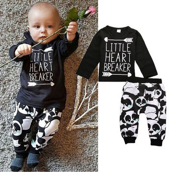 f5f02c94f365 Fashion Newborn Infant Baby Clothes Little Boys Girls T-shirt Top+Pant 2pcs  Outfits