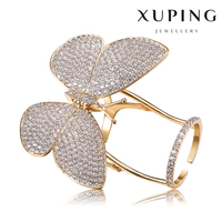 XR1166-xuping 18k gold plated luxury butterfly set ring big with cz stones for girls and women