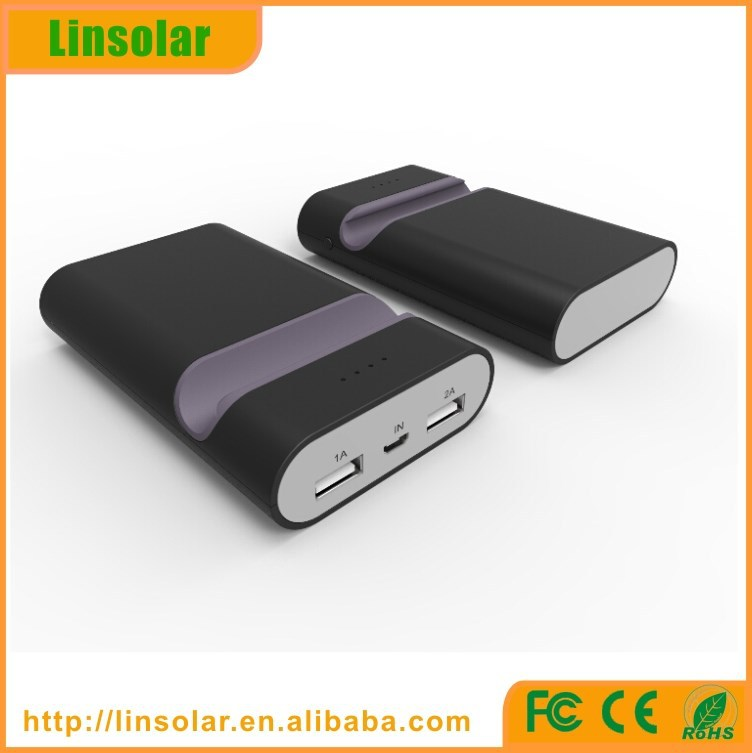 2015 alibaba new products dual usb phone stand 6600mAh ce rohs power bank