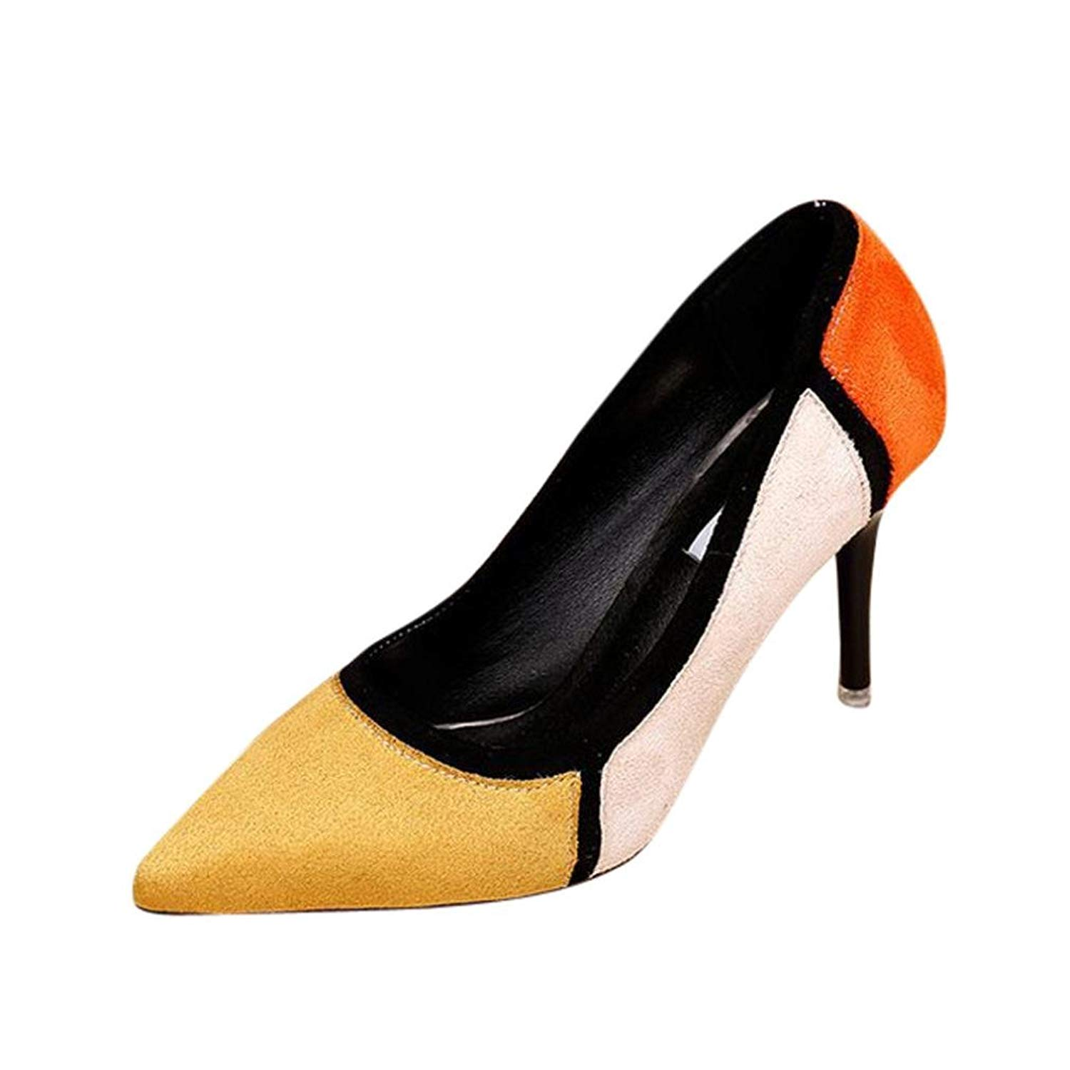 83710416868b Get Quotations · PENATE Women s Fashion Flock Pump Shoes Sexy Thin High Heel  Shallow Pointed Toe Party Wedding Wedge