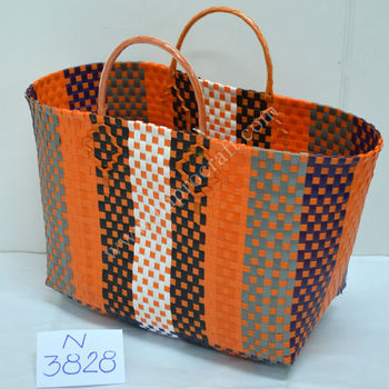 Merveilleux Colorful Woven Plastic Storage Baskets / Vietnam Shopping Bag (N 3828)