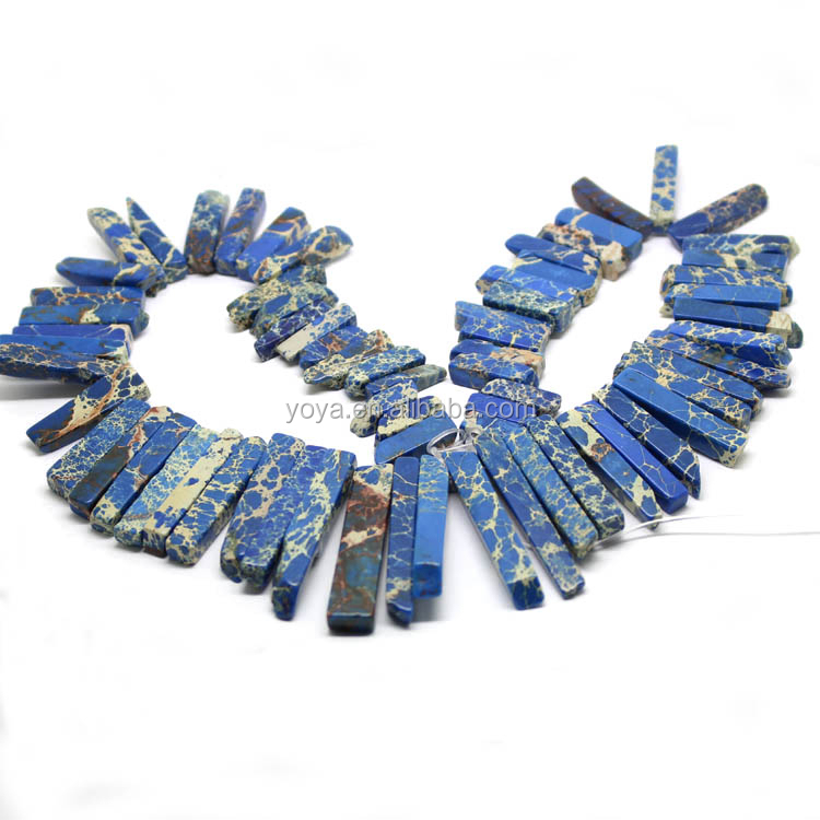 SM3081D Blue Sea sediment jasper graduated stick beads,Aqua Terra Jasper long slab beads
