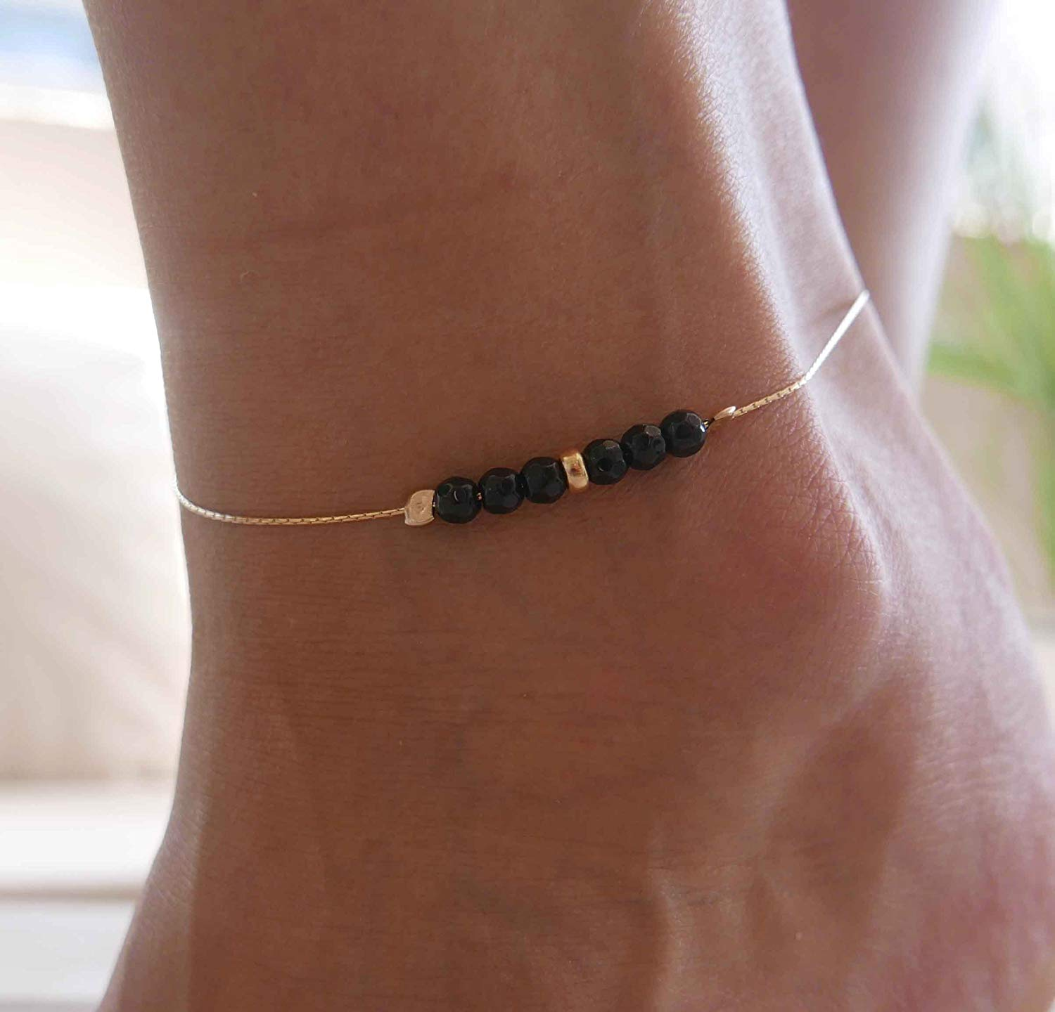 Handmade Gold Anklet For Women Set With Black Onyx Beads By Galis Jewelry - Gold Ankle Bracelet For Women - Chain Anklet - Onyx Anklet - Beaded Anklet - Gemstone Anklet