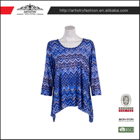 Fancy design woven skinny french cut print blue indian lady blouse designs