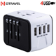 Latest electronic products in market Universal Charger AC Adapter with 4 USB Port for US/ EU/ AU/ UK 150 + Countries