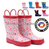 Various high quality gilrs half rubber children rain boot with handle
