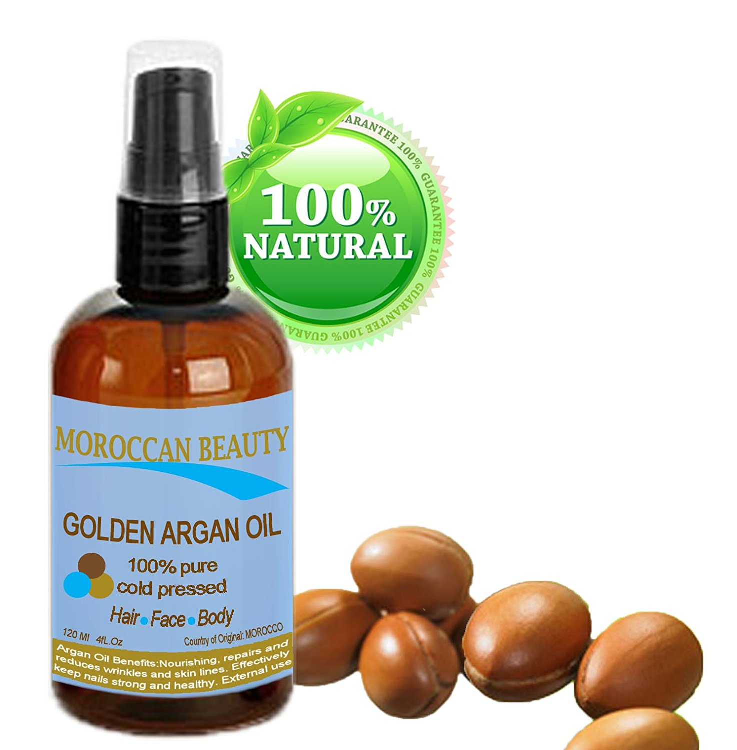 Moroccan Beauty Golden Argan Oil, 100% Pure, Cold Pressed, for Professional Use, 4oz-120ml