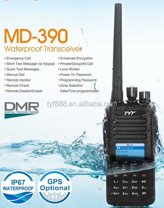 MD-390 GPS optional dmr radio tyt IP67 waterproofed+1pc waterproofed earphone+1pc promgram cable