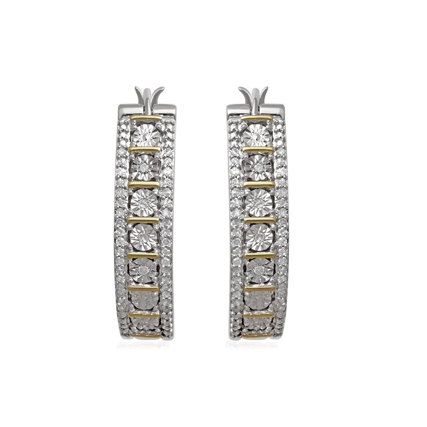 Jewelili 18K Yellow Gold Plated Over Sterling Silver Diamond Hoop Earrings,1/4cttw