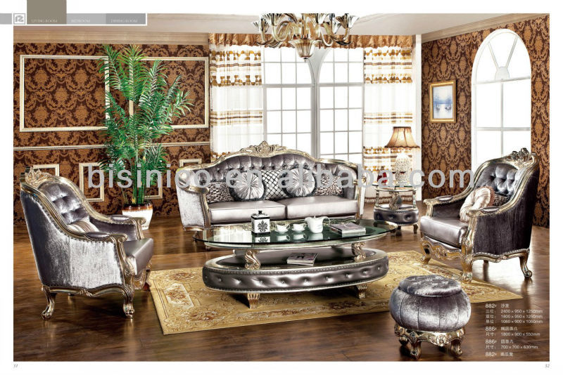 European Style Champagne Gold Leaf Sofa Classic Carving Louis Living Room Furniture