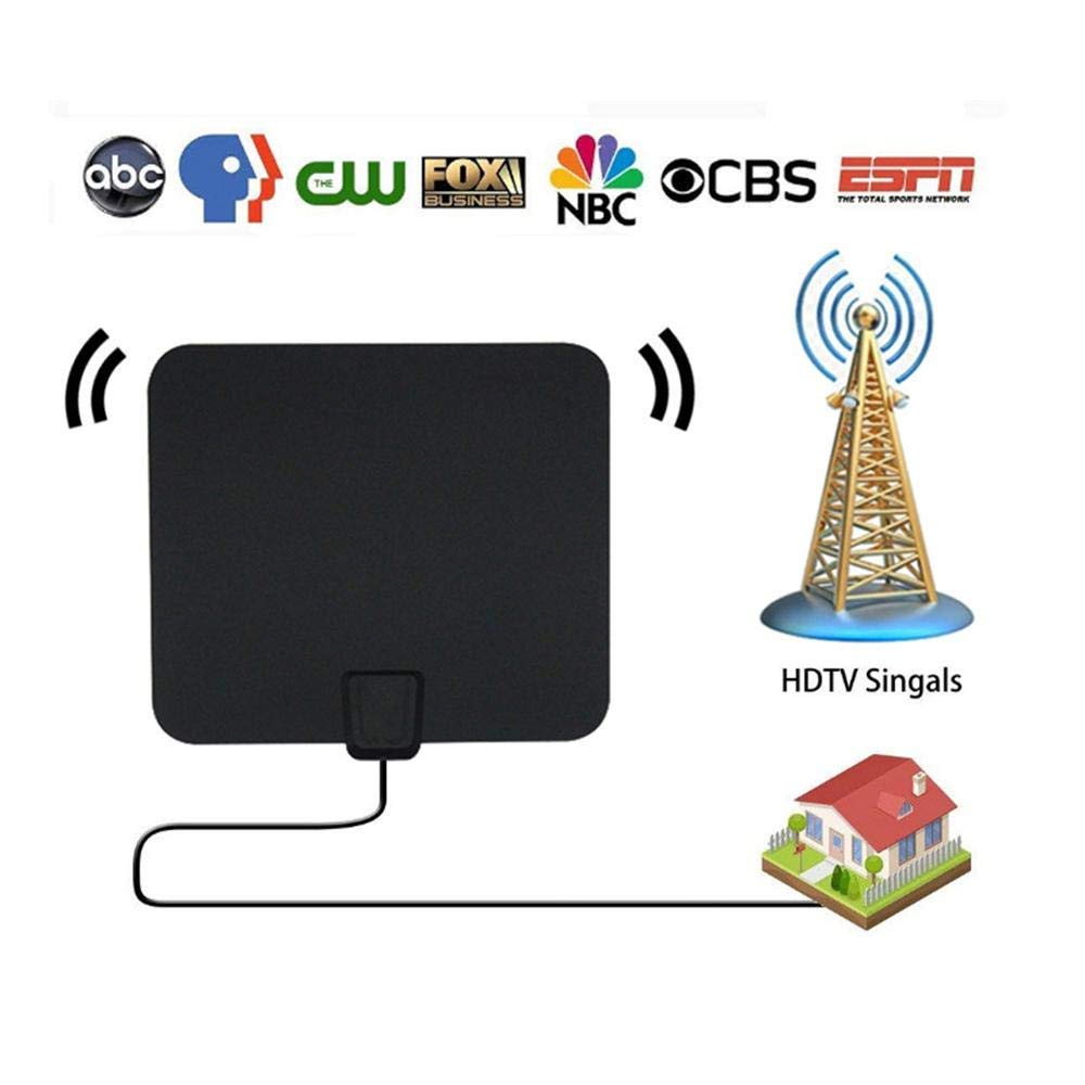 TV Aerial Antenna, TV Antenna Amplifier Signal Booster HD Smart TV Antenna Buddy, 50-80 Mile Range Indoor Amplified HDTV Antenna for All Types of Smart Television - W/Coax Cable, Power Adapter