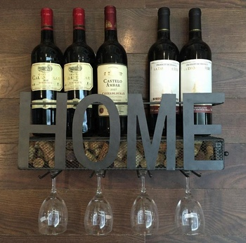 Amazon Letter Home Metal Wall Mounted Wine Rack With Wine Cork