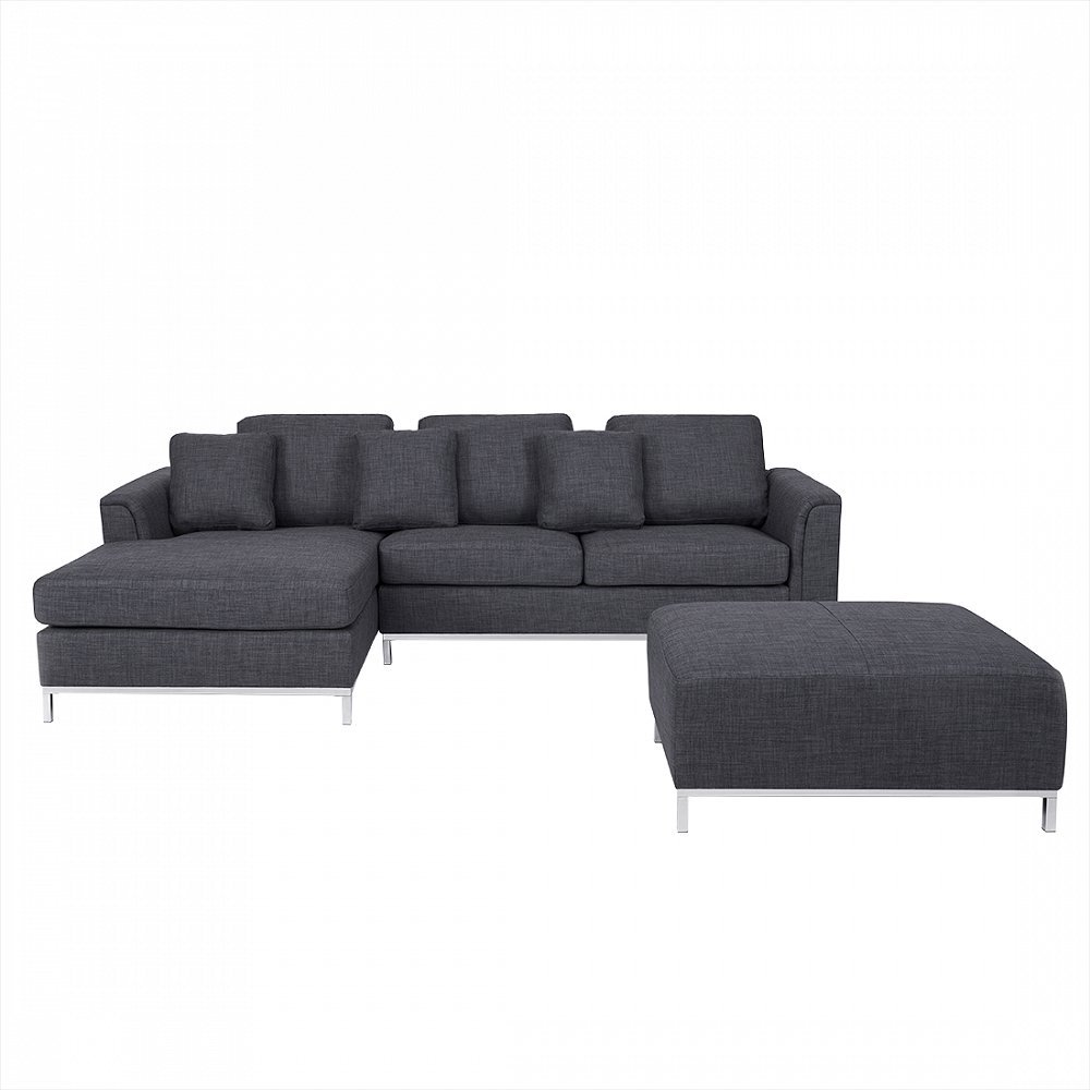 Velago Ollon Dark Grey R Modern Sectional Sofa in Fabric with Ottoman