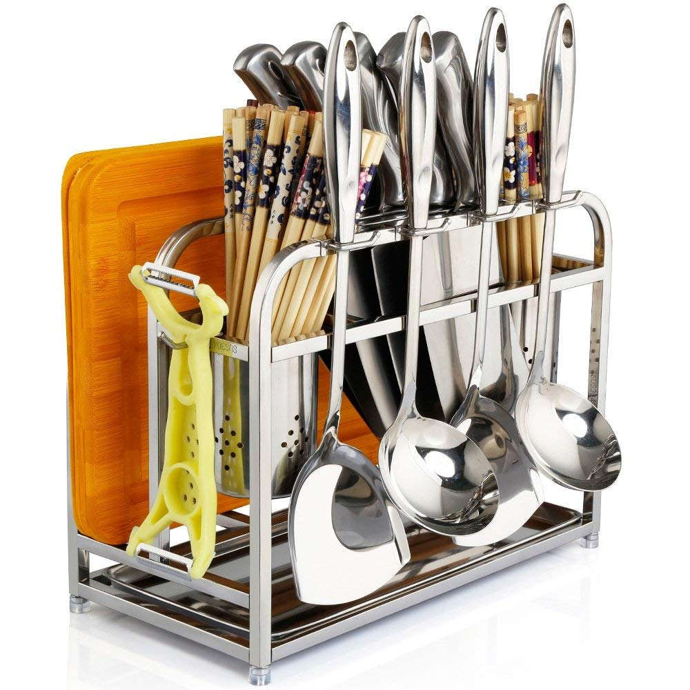 Multifunctional Stainless Steel Knife Holder Knife Block Anvil Plate Tool Supplies Storage Shelves Choi Board Shelves Kitchen Shelves ( Color : Silver )