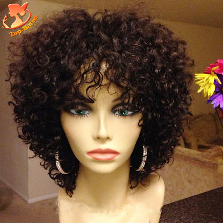 Full Lace Short Human Hair Wigs For Black Women Afro Kinky