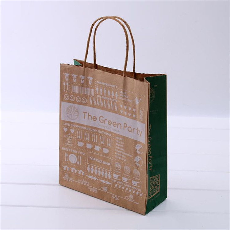 fashion simple convenient printing on brown kraft paper bags with handles
