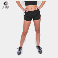 Wholesale OEM Quick Dry Sportswear Black Sexy Hot Women Fitness Athletic Crossfit Hot Short Shorts