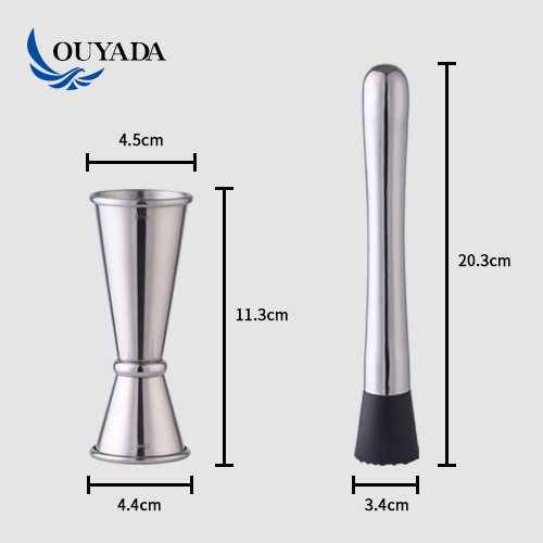 Factory Direct 800ml custom stainless steel jigger muddler bartender bar accessories boston bamboo stand cocktail set bar tools
