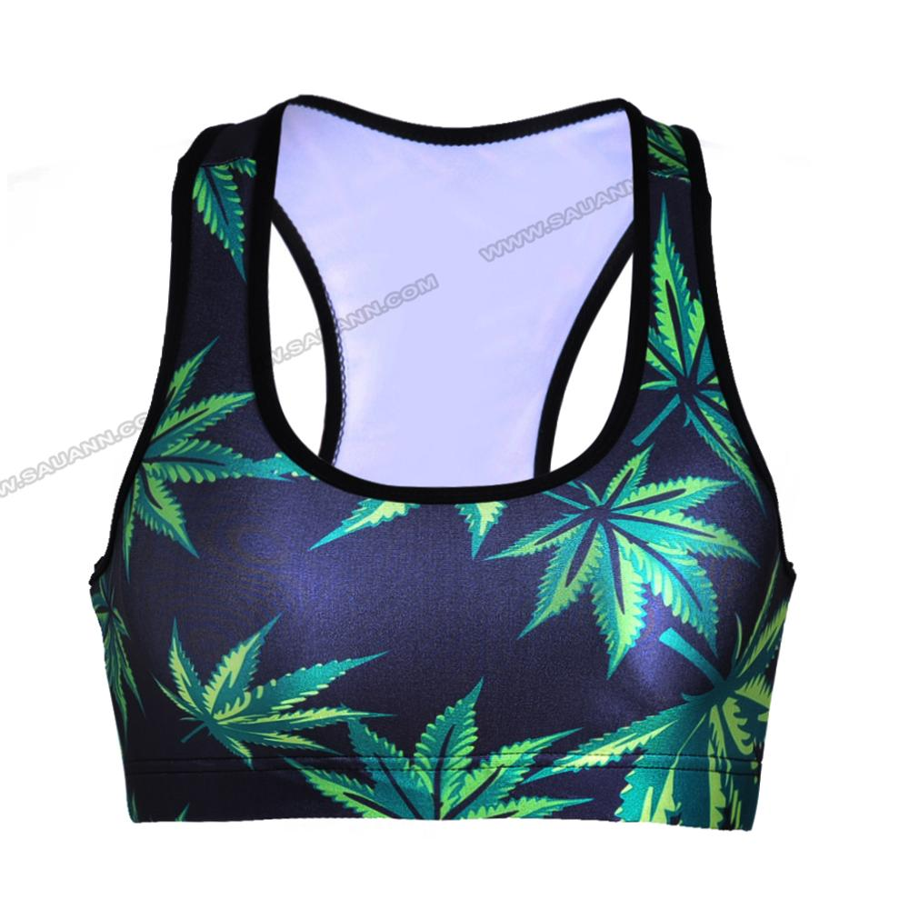 Wholesale printed design leaf print sports bra sportwear women