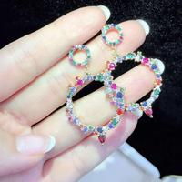 CM-Xinyee Share coloured Zircon Earrings, Women's earrings with national characteristics and elegance