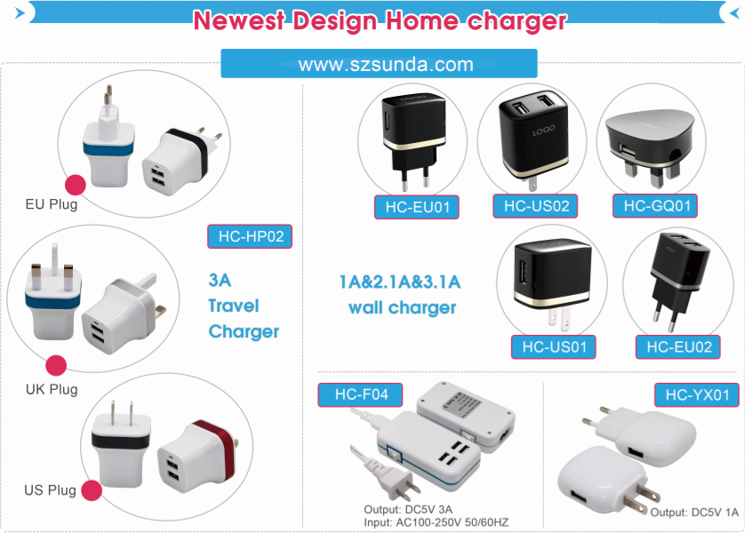 QC3.0 fast charging 5 usb port type-c pd wall charger