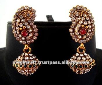 Indian Traditional Kundan Polki Earrings Jumka Earrings