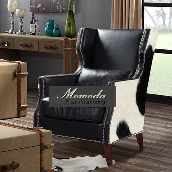 N502 1 MOMODA American Village Cowhide Upholstery Leisure Chair For Living  Room