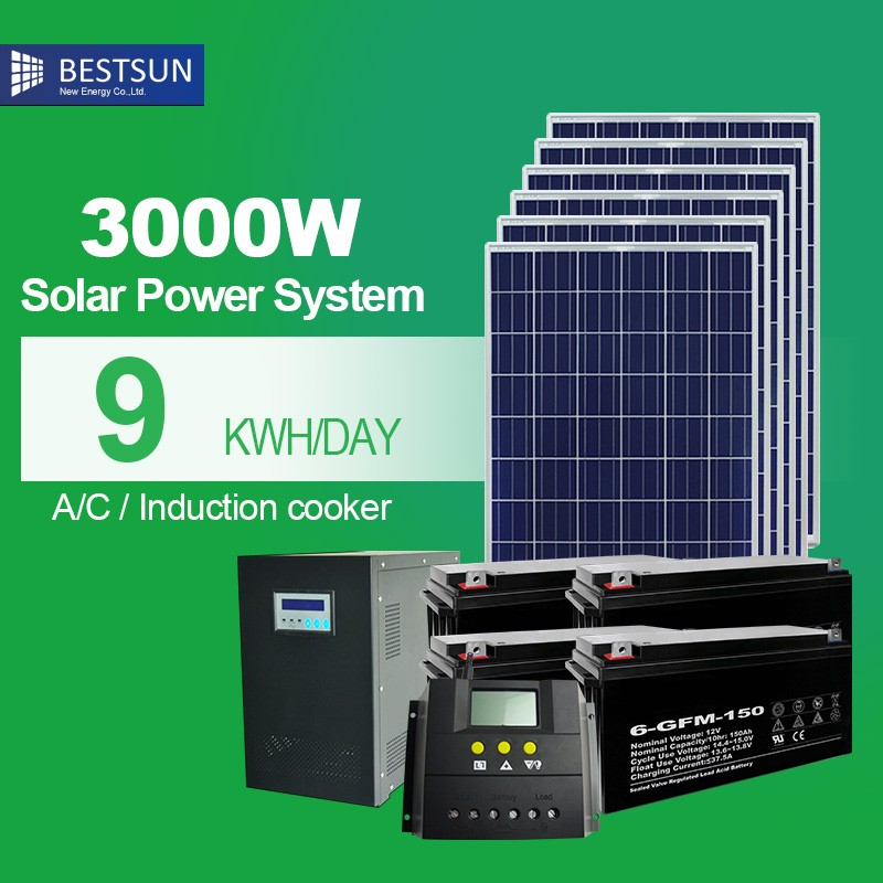 Best sun 3kwh lithium ion battery backup system 3kW <strong>Solar</strong> off grid generator home system