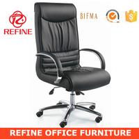 high back black genuine leather ergonomic office chair with headrest for president RF-S009