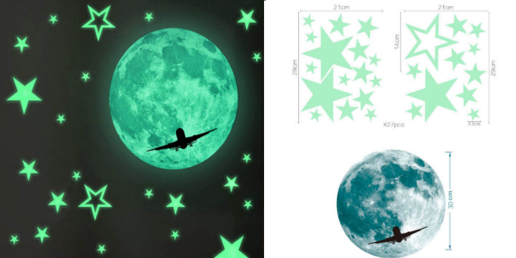 glow in the dark removable day night bright noctilucent star room wall fluorescent 3d pvc plastic kids decals stickers products
