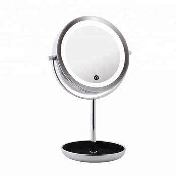 12x Magnifying Cosmetics Finishing Chrome Tabletop Round Led Mirror Makeup