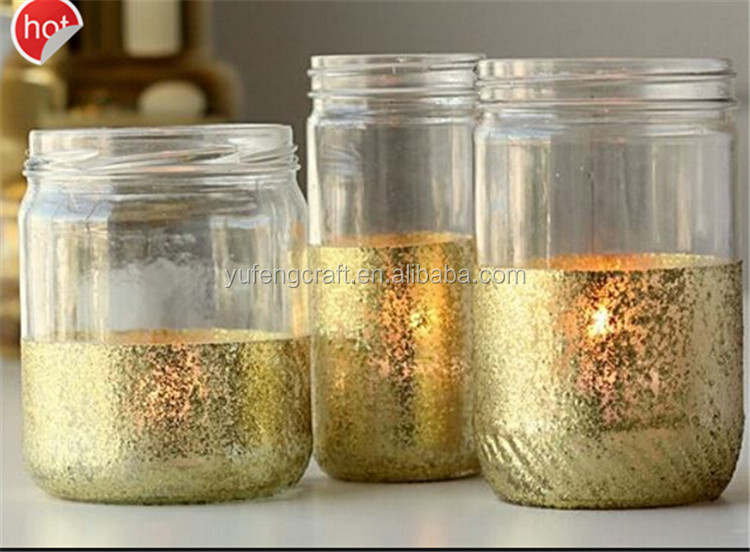 Exported To United States Bling Gold Glass Jars For Candle Lamp